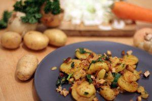 Rezept vegane Bratkartoffeln Speck