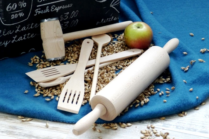 Nudelholz Kochlöffel Pfannenwender Salatbesteck Holz
