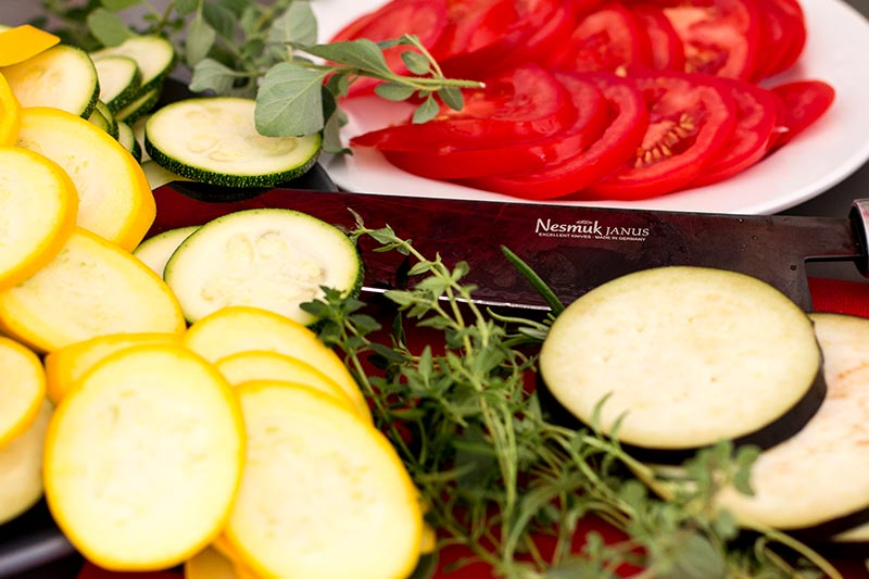 Ratatouille Gemüse schneiden