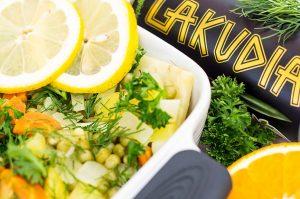 Orangensellerie mit Olivenöl
