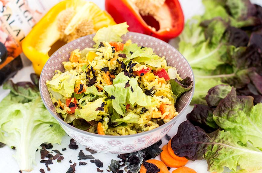 Curry Reissalat Rezept vegan Algen
