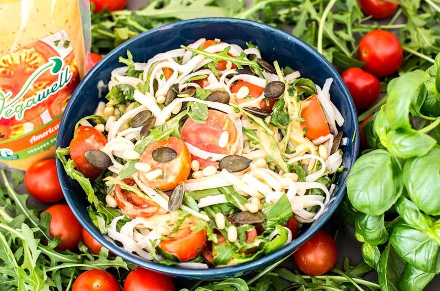 Salatrezept vegan Italienischer Reisbandnudelsalat