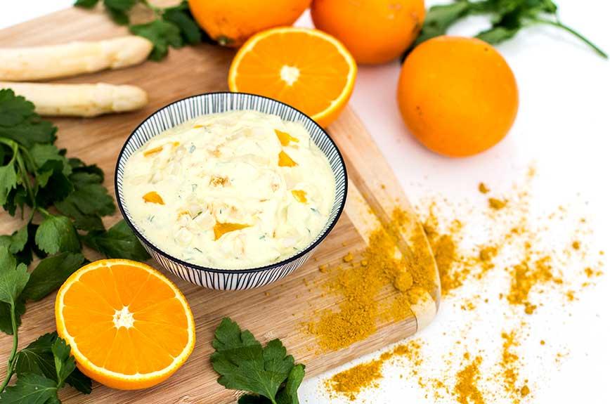 Currycreme Rezept vegan Spargel Orange