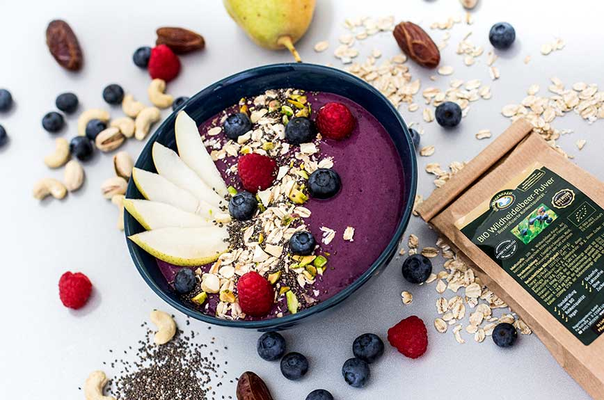 Wildheidelbeer-Pulver Smoothie Bowl Rezept