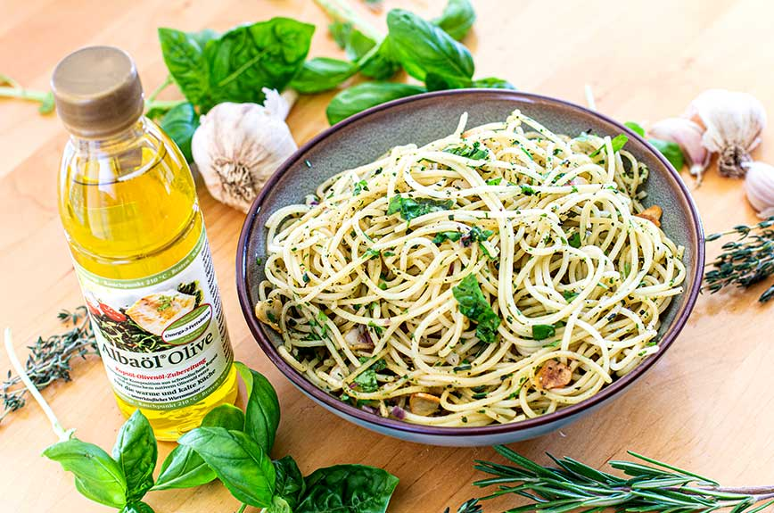 Knoblauchspaghetti Rezept vegan